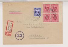 Bizone/AM-Post, Mi. 8z, (4er-Eckrand), 9z, R-Erlangen - Aachen, 15.5.46