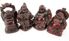 BUDDHA Reddish Brown Resin Miniature Figurines Smiles Fat Belly Feng Shui Set 4