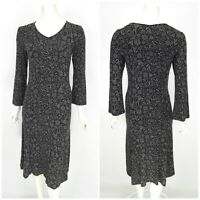 Womens Gudrun Sjoden Long Bodycon Dress Grey Floral Print Modal V-Neck Size S
