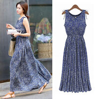 Womens Bohemian Full Length Sleeveless Maxi Blue Floral Cotton Pleated Dresses