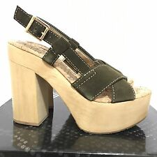 Sam Edelman Womens Sandals 7 High Heels Suede Ankle Strap Buckle Platform New