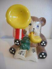 Vintage Chalkware or ceramic Tuba Playing Brown Bear and Frog Bank Carnivalware