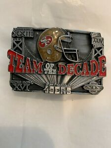 SAN FRANCISCO 49ERS TEAM OF THE DECADE BELT BUCKLE VINTAGE 1990 #4179 USA MADE