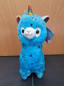 Stofftier Alpaka Einhorn blau Plüsch Neu 36cm Kuscheltier lama