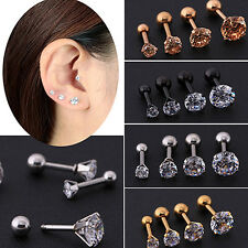 Women Rhinestone Cartilage Tragus Bar Helix Upper Ear Earring Stud Jewelry 4mm