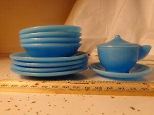 VINTAGE AKRO AGATE CHILD'S TEA SET DISHES INTERIOR PANEL BLUE MILK GLASS 11 PC