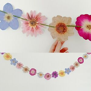 Pressed Flower Bunting Quirky Garland Party Wedding Easter Spring Ostara Decor