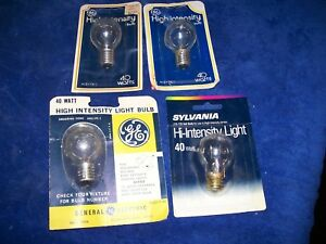 Vtg 3 GE 40 Watt High Intensity Lamp Light Bulb 40S11N/1 + 1 Sylvania 40S11N/BL