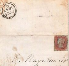 BD75 1847 GB PENNY RED IMPERF VARIETY *Over-inked Blur* NW Brighton Cover Letter
