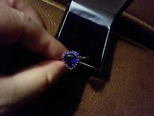 NEW LOVELY HEART BLUE SAPPHIRE + TINY SAPPHIRES STERLING SILVER  RING SIZE O