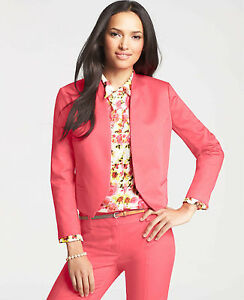 Ann Taylor - Size 2 (XS) Guava Juice Pink Sateen Open Jacket $128.00 NWT (H)