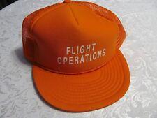 NEW Vintage FLIGHT OPERATIONS Orange Baseball Hat Mesh Trucker Cap Snapback NOS