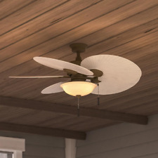 "Outdoor/Indoor 48"" Patio Ceiling Fan + Bowl Light Unique Tropical Palm Leaf Cool"
