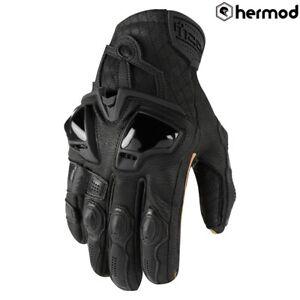 Icon Hypersport Short Leather Motorbike Motorcycle Gloves - Black