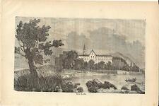 Stampa antica ISOLA LECHI veduta panoramica Lago di Garda 1859 Old antique print