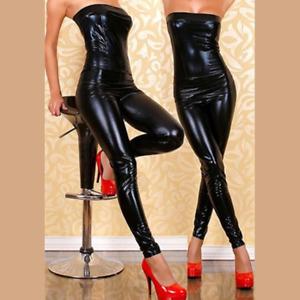 Sexy Black Wetlook Fetish Catsuit Strapless Clubwear Medium