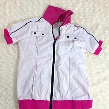 Zumba Fitness Short Sleeve Sz S White Zip Up Shirt Jacket Black Pink
