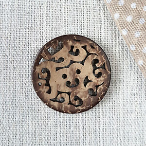 3 Stück 34mm Designer Kokosknöpfe filigraner Durchbruchmuster Kokosnussschale