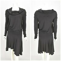 Womens Amor Plein Sud Dress Grey Wool Blend Cowl Neck Gothic Size 42 / UK14