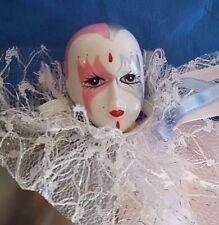 "Vintage Clown Doll Brinn's Porcelain Dated 1991 Jester Mardi Gras Carnival 10"""