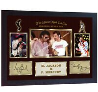 Freddie Mercury Queen Michael Jackson signed photo autograph Music Framed
