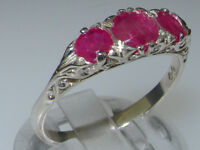 VINTAGE style 925 Solid Sterling Silver Natural Ruby Trilogy Ring