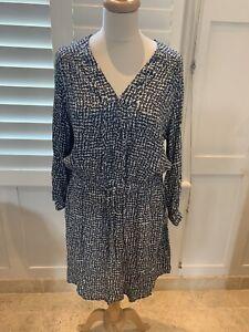 0039 italy Grey Floral Drawstring Shirt Dress Med Uk10/12
