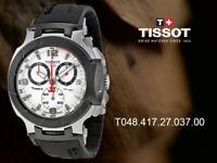 Tissot T0484172703700 White Dial Black Rubber Band T-Race Chronograph Mens Watch