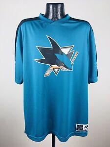 Men's Majestic San Jose Sharks Quick Play Teal Performance Tee Shirt 2XL