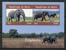 Benin 2017 CTO Elephants 2v M/S Wild Animals Stamps