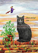 Waiting for my WItch Halloween Samhain card, Pagan Wiccan Cat UK artist birthday