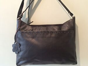 SIENNA DE LUCA real leather ladies brown multi compartment shoulder bag