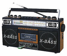 QFX J-22U Boom Box Retro Four-Band Radio & Cassette to MP3 Converter in Black