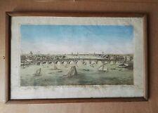 Gravure coloriée vue d'optique pont de Westminster Londres 18 ème siècle
