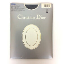 Christian Dior Diorissimo Pantyhose Size 3 Navy Control Top Sandalfoot Vtg 80s