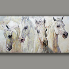 FOUR THOROUGHBRED ARABIAN HORSES - ORIGINAL PAINTING Hand painted JOART Unique
