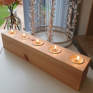 Rustic Wooden Chunky Tea Light Candle 5 Holder Redwood Handmade Natural Wood