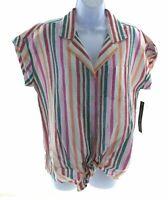 Unique Spectrum Womens Button Up Multi Color Striped Top Cap Sleeve Tie Front