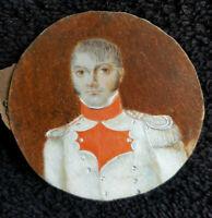 Ancienne peinture Miniature sur ivoir portrait d'officier 1er empire 19eme