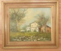 Old Vintage Country Painting - Barns, Flowers, Trees, Sky - Framed