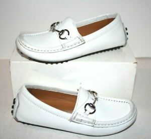 Kids' GUCCI White Leather Loafer Shoes with Silver Horse Bit Accent Size 11 US