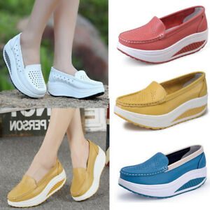 Leather Women Fashion Sneakers Slip On Shoes Swing Platform Wedges Shoes Loafers