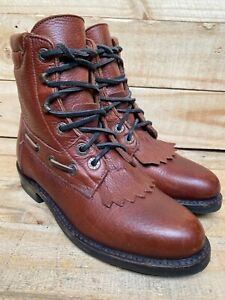 Lucchese 2000 T850002 Brown, Leather Lace-Up Kilted Cowboy Western Women's 5.5 B