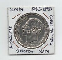 España 5 Pesetas 1885*87 Alfonso XII (M.S.M. exceso material circulada  Ref.M603