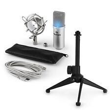 auna LED USB Kondensator Studio Mikrofon Set Spinne Tischstativ Tasche silber