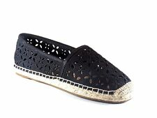 Michael Kors Darci Slip On Black Canvas Perforated Espadrille Flat Shoe Size 8.5