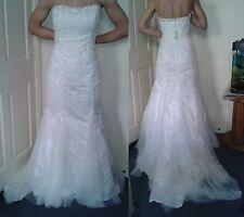 Rosetta Nicolini Wedding Bridal Fishtail Mermaid Embroider Beaded Dress s 16 NEW