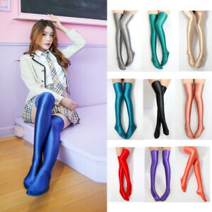 Women's Sexy Shiny Silky Over-knee Socks Lightweight Breathable Walking Colorful