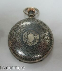 ANTIQUE LONGINES GOLD MEDAL PARIS 1878 15 RUBIS SILVER NIELLO CASE POCKET WATCH