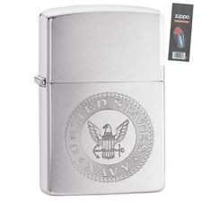 Zippo 29385 United States Navy Brushed Chrome Full Size Lighter + FLINT PACK